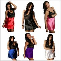 5pc/lot XL~4XL European Style Women Plus Size Sexy Strapped Lace Patchwork Silk Mini Babydoll Lingeries New Satin Pyjamas Sets