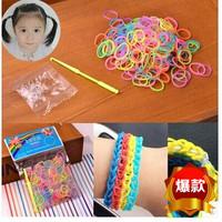 HOT!!! 2014 New Item Child Hair Rope Headband Rubber Hair Accessory Children DIY Hand Loom Band bracelet multi-colored 12bag/lot