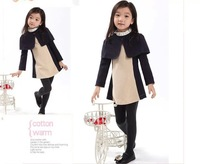 wholesale (5pcs/lot)-Children's autumn clothing girls L--7018  Korean shawl patchwork two pieces dress