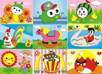 F105 10 Designs EVA Foam 3D Puzzle Stickers Paste Painting jigsaw Children Kids Educational DIY Handmade Gift toys 17*12.5cm