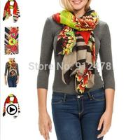 2014 New Arrival Women Elegant Vintage Floral Print Warm Scarf Brand Designer Scarves Cotton Style Fashion Muffler For Woman