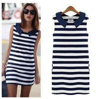 Summer women sleeveless navy blue striped dress and long sections peter pan collar vest dress