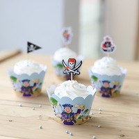 24Pcs Cupcake Wrappers & Toppers Picks Decoration PARTY SUPPLIES The Pirates Series