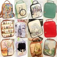 2014 Fashiom Print Backpack Women backpack small female PU/Genuine Leather backpack school bag preppy style