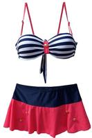 Summer 2014 New Sexy Brand Patchword Beach Swimwear Skirt Swimsuit Striped High Waist Bikini Set Swimsuit Women Bathing Suit