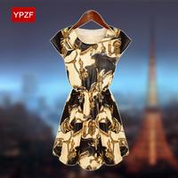 Ypzf2014 summer medium-long plus size clothing pullover o-neck short-sleeve chiffon one-piece dress