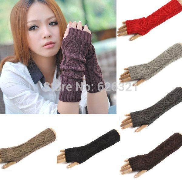 1pair New Winter Mitten Warm Unisex Men Women Arm Warmer Fingerless Knitted Long Gloves Mittens Retail Wholesale Free(China (Mainland))