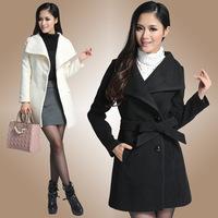 New Korean large lapel collar female coat in a long coat