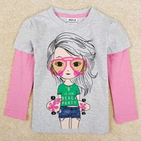 Free Shipping New  Children T Shirts Casual Long Sleeve T Shirts 100% Cotton O-Neck Girl's T Shirts Print Girl's Autumn Clothing