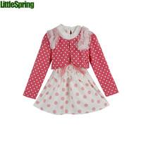 2 colors Two-piece suit girls  spring&autumn Spring Lace Dot T shirt bottoming shirt + Polka Dot Dress Set  girls    ELZ-T0329