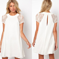 New Fashion Women Snow white lace stitching back slotted three elegant bag buckle chiffon dress