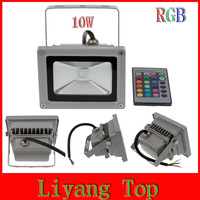 Free shiping 6pcs 10W RGB LED Floodlight IP65 Waterproof Stainless LED Light With IR Remote For Outdoor Wall High Way