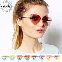 Heart Shaped Womens Lolita Sunglasses Love Retro Fashion Gold Metal Frame