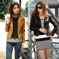 2014 New Autumn Women's Zipper Pink PU Leather Jacket Turndown Collar Lady Leather Coat Outerwear jaqueta couro feminina