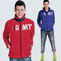 New arrival spring / autumn  male clothing thin fleece outerwear stand collar jacket  red / royal-blue