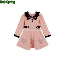 children's dress spring&autumn  girls cute long-sleeved dress Butterfly long-sleeved cotton dress lapel buttons dress ELZ-Q0199