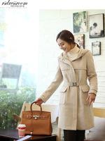 New women's long woollen overcoat woolen coats blouse