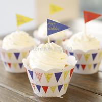 Flags Cupcake Decoration CupCake Wraps&Topper Picks 24Pcs,Free Shipping