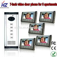 "Wholesales free disturb 7""TFT-LCD handsfree video doorbell system building intercom system for 5 apartments"