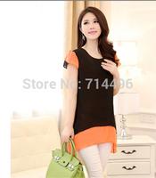 2014 new fashion blouse woman two-level lotus sleeve long-sleeved chiffon short sleeve shirt Hot 2 color stock