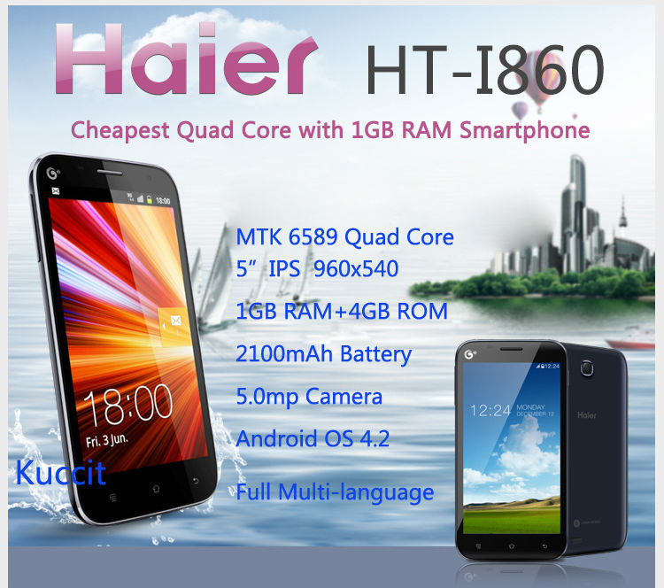 "original China Brand Cheapest Haier I860 phone MTK6589 4 Quad Core 5"" IPS 1GB RAM GPS Android mobile Smartphone Russian W718(China (Mainland))"