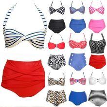 UK Beach Style Vintage High Waist Halterneck Swimwear womens bikinis set Swimsuit push up bikini bathing suit Plus size S M L