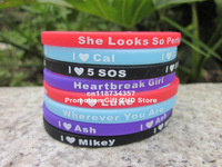 Skinny I Love 5 SOS Wristband, Love Luke, Mikey, Cal, Ash, 5 Seconds Of Summer Silicon Bracelet, 120pcs/Lot, Free Shipping