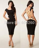 2014 New European Fashion Women Sexy Plus Size Knee Length Black Bodycon Dress Celebrity Casual Dress Backless Bandage Dress