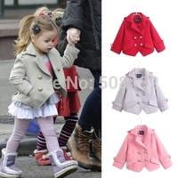 2014 autumn Children coat design double breasted kid  woolen short overcoat girl trench jacket design 3-10 years old