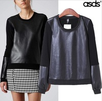 2014 New Autumn Fashion Women Pullover Fashion PU Leather Patchwork Women Hoodies Long Sleeve Tops 15650