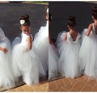 Free shipping flower girl dresses! Scoop backless gown beautiful handmade classic white organza ball gown flower girl dresses