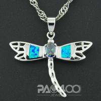 Mercury Mist Mystical Rainbow Topaz  Pacific Blue Fire Opal Silver Fashion  Jewelry  Pendant OLP003LF  Wholesale & Retail
