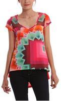 2014 Summer women clothing  Desigual t shirt Print t shirt casual white ladies women blouse fashion tops for women DG040