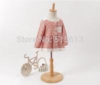 wholesale High quality,2014 New Autumn brand  Korean baby girls dress floral princess party,2-10yrs kids pockets cotton+linen
