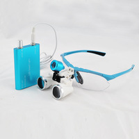 Professional magnifying glasses 3.5X320mm Blue Dentist Surgical Binocular Dental Loupes+ Portable LED head light lamp 188039