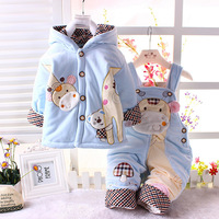 Children's clothing infant autumn and winter suspenders with a hood twinset 0-2 ploughboys - male 2 piece set