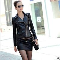 New Women Leather Jacket Coat 2014 New Winter Women Plus Size Slim PU Motorcycle Leather Coat Diagonal Zipper Casual Jacket