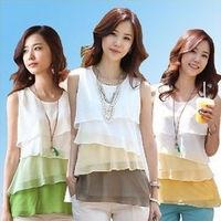 selling multicolor fashion sleeveless chiffon halter top level flounced plus size round neck vest