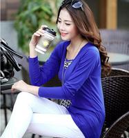 Korea 2014 autumn/winter fashion women's clothing milk silk warmth pure color v-neck long-sleeve t shirt women wholesale 216