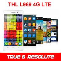 Original THL L969 Android 4.4 MTK6582 Quad Core 5.0'' IPS Screen 1GB RAM 8GB ROM 4G FDD-LTE+3G WCDMA Cell Phone Gift Flip Case