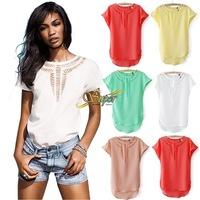 2014 new women carved hollow bat chiffon shirt shirt European style fashion wild female chiffon shirt