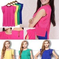 Hot Summer Women round neck chiffon blouse chiffon shirt plus size short sleeve shirt T-shirt
