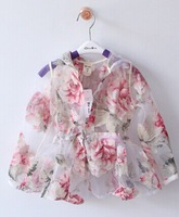 2014 New,girls sun protective clothes,children floral hooded coats/outerwear,2-8 yrs,5 pcs / lot,wholesale kids clothing,high