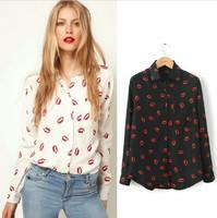 hot new long-sleeved shirt printing new lip vermilion blouse chiffon shirt female
