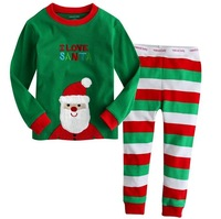 Free delivery boy long-sleeved striped trousers Christmas style + quality 100% long-sleeved tracksuit 2T-7T / Children Set