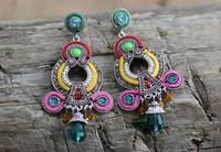 Unique Colorful Vintage Ethnic Women Beads Fashion Long Dangle Indian Earrings. Wholesale Luxury Fashion Bohemian Earrings