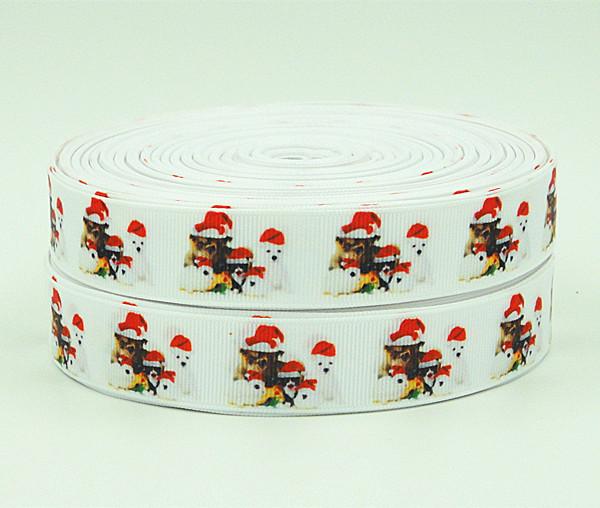 WM/OEM Christmas Style 7/8inch 22mm 140810016 Animal Pattern grosgrain ribbon 50yds/roll free shipping(China (Mainland))