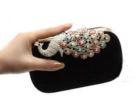 New 2014 Women Clutch Evening Bag Upscale Rhinestone Velvet Hard Case Colorful Peacock Chain Bolsas Femininas M101