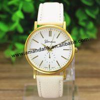 100pcs/lot New Fashion Geneva Gold Steel Leather Watch Men Quartz Watches Ladies Women Dress Wristwatch