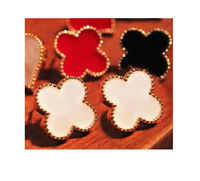 Wholesale Fashion Jewelry Women Lucky Clover Stud Earrings 12 Paris/Lot 3 Colors